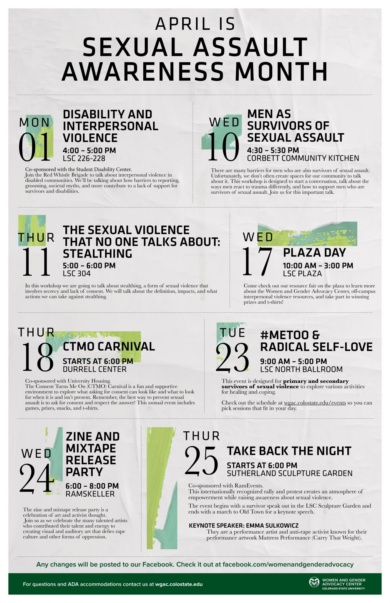 Image of the Sexual Assault Awareness Month poster listing the event information that is already described on the page.