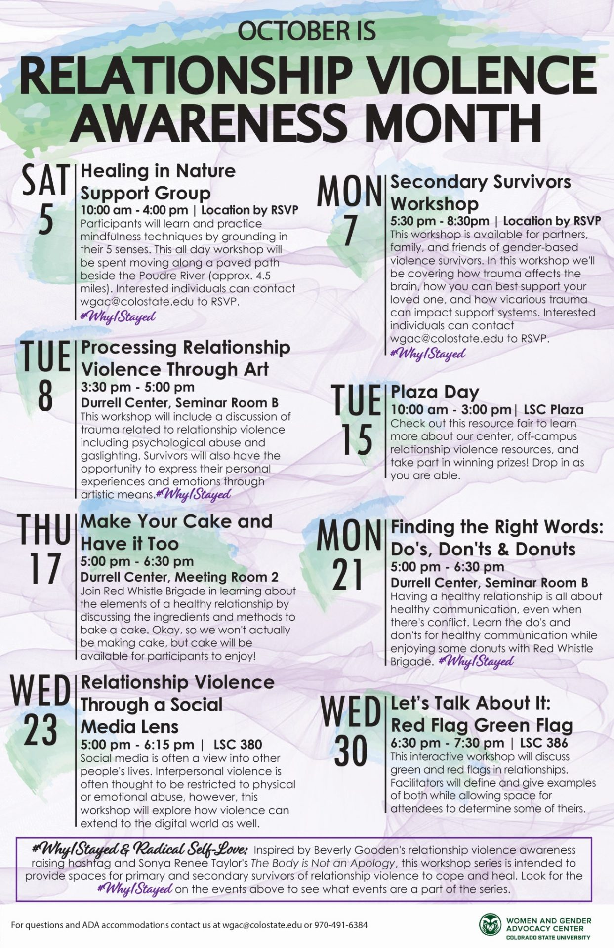 Calendar of events for Relationship Violence Awareness Month 2019 in black text over purple, green, and blue watercolor background.